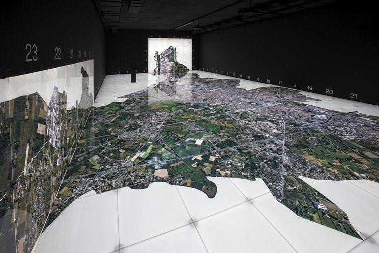 Luchtfoto van de stad Gent, in het STAM. Beeld stamgent