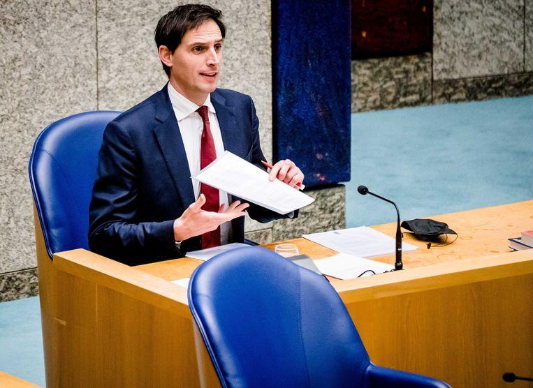 Demissionair minister Wopke Hoekstra van financiën (CDA) tijdens het wekelijks vragenuur in de Tweede Kamer. Beeld ANP