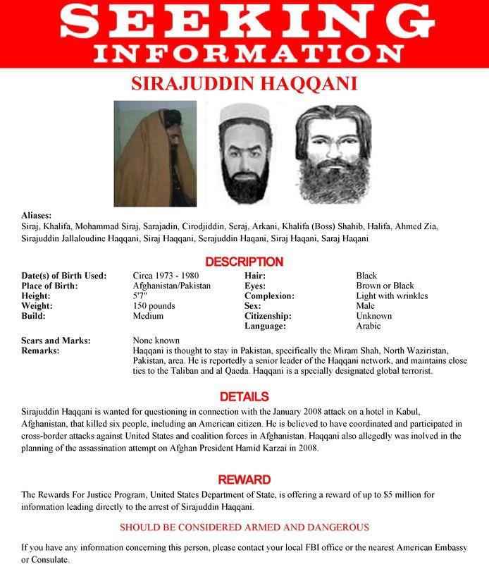 De nieuwe Afghaanse minister van Binnenlandse Zaken staat op de Most Wanted-lijst van de FBI.