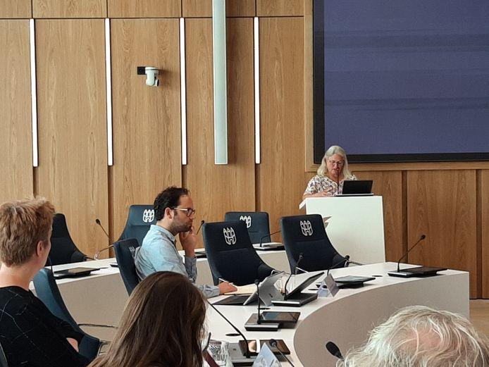 Helène Felix spreekt de gemeenteraadsleden toe tijdens de hoorzitting over Wijkevoort.