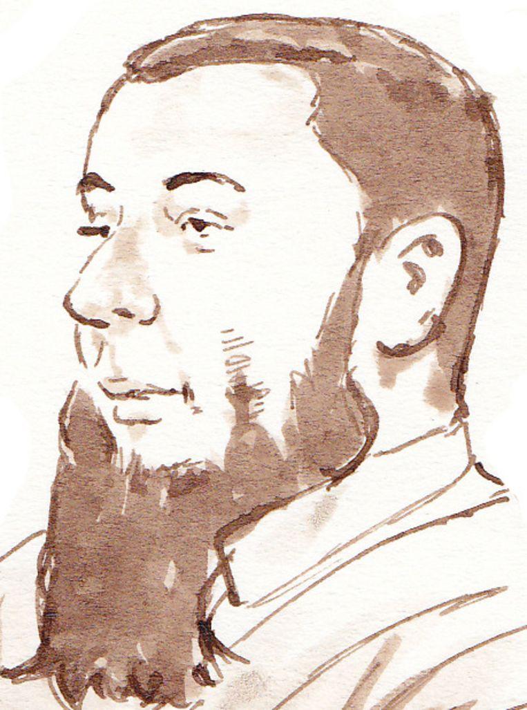 Rechtbanktekening van de verdachte Jordi de J. Beeld ANP
