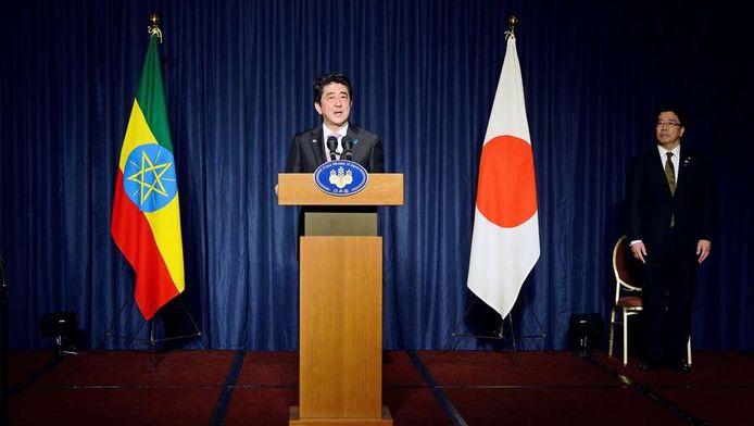 Le Premier ministre japonais Shinzo Abe au siège de l'Union africaine à Addis Abeba (Ethiopie)