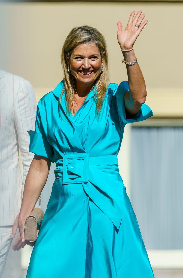 Koningin Maxima bij Paleis Noordeinde voor de groepsfoto met de Olympische medaillewinnaars. Beeld ANP