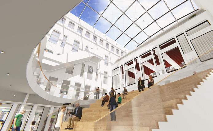 Het nieuwe stadhuis zou een soort huiskamer moeten zijn. Er is een tribune om op te zitten of te lezen.