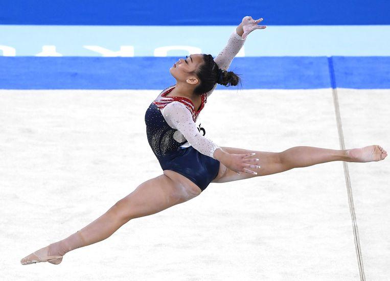 Sunisa Lee won de gouden medaille in de allroundfinale. Beeld Photo News