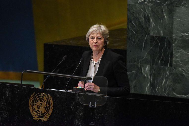 De Britse premier Theresa May, hier tijdens haar toespraak voor de VN. Beeld AFP