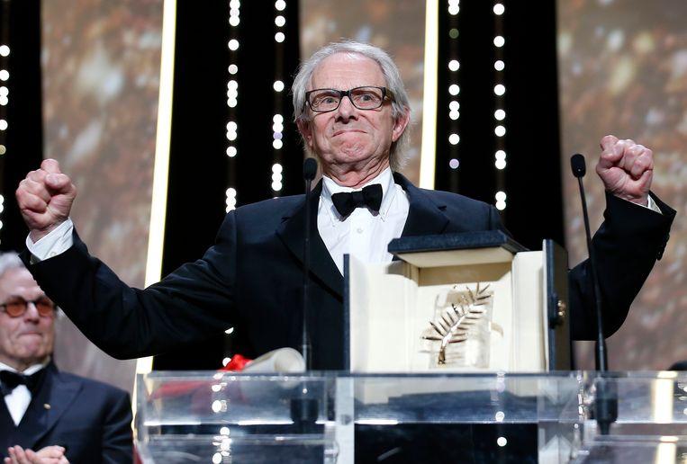 Ken Loach kreeg in Cannes de Gouden Palm voor zijn film 'I, Daniel Blake'. Beeld EPA