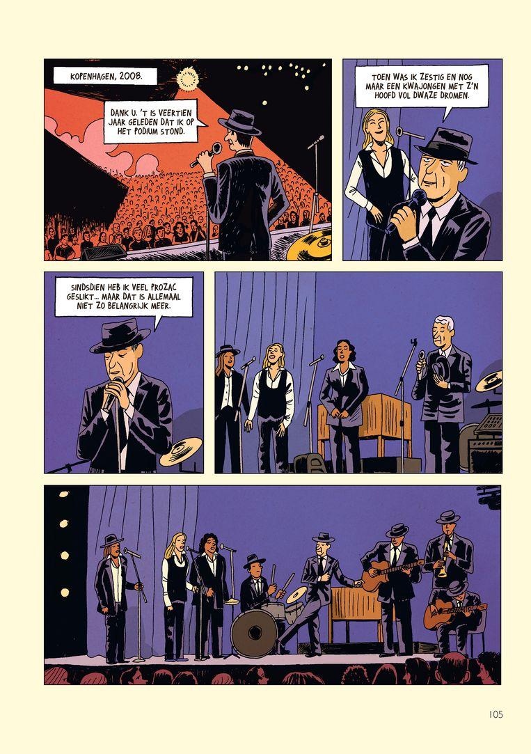 Een pagina uit Leonard Cohen On a Wire. Beeld -