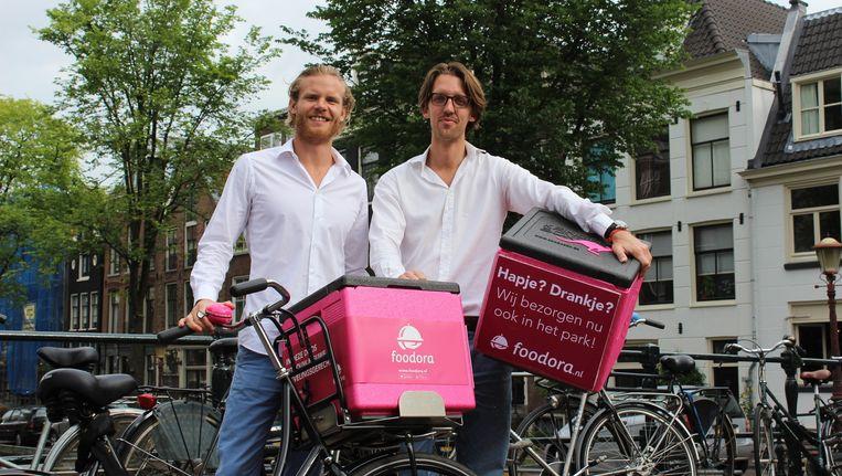 De Duitse fietsbezorgservice Foodora werd in oktober 2014 opgericht door Konstantin Mehl en Emanuel Pallua Beeld Foodora