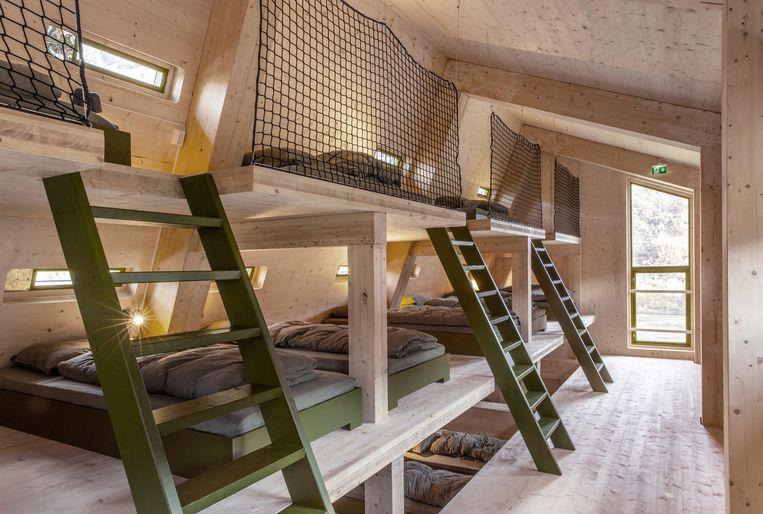 In de slaapzaal is plaats voor 30 bergfanaten.  Beeld Jan M Lillebø