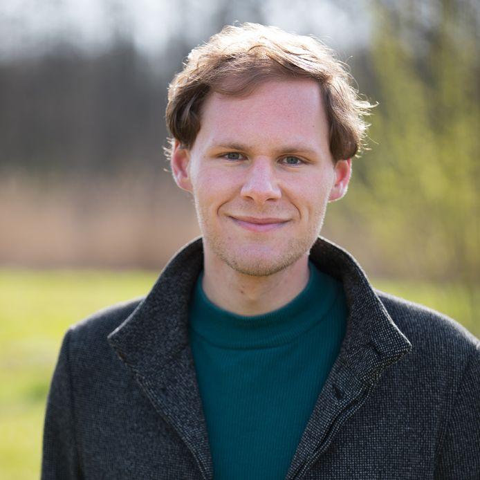 Vincent van Roon, de nieuwe lijsttrekker van D66 Delft voor de gemeenteraadsverkiezingen van 2022.