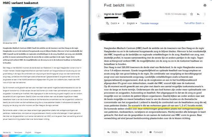 De verklaring van het HMC op haar website (links) en de verklaring van HMC aan het AD.