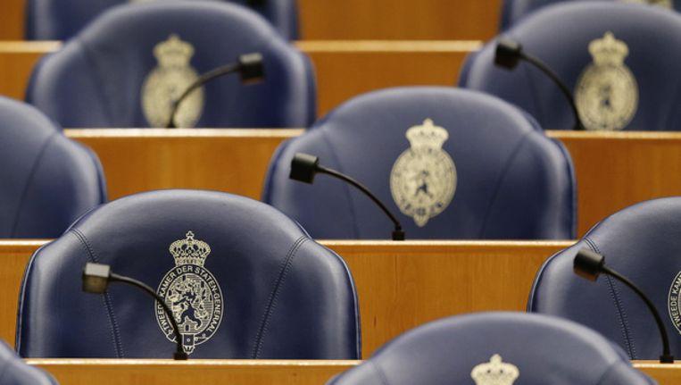 Lege stoelen in de Tweede Kamer Beeld ANP