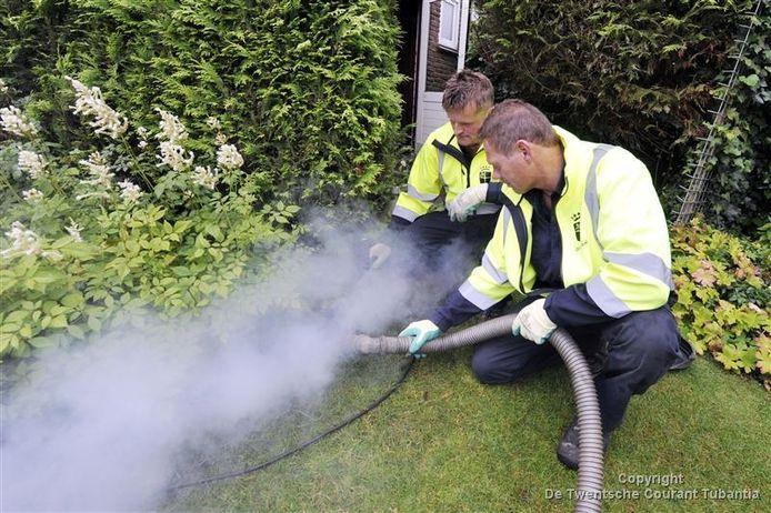 Erwin ter Huurne (achter) en Benno van den Berg zoeken met een rookmachine naar sporen die de aanwezigheid van ratten verraden.
