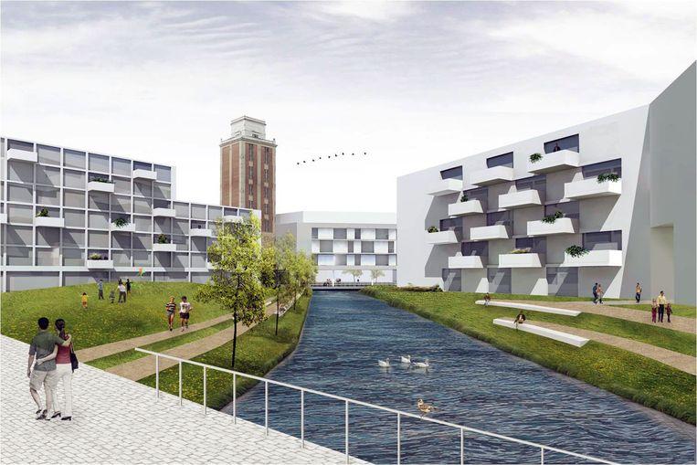 Zo zal de nieuwe woonwijk ten westen van de Vaartkom eruit zien. Rechts: De situatie nu. Links is de Sluisstraat, vooraan komt er een park. De bottelarij wordt afgebroken.