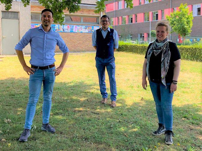 Wesley Wouters (directeur Talentenschool), Peter De Ceuster (directeur Talentenschool) en Tinneke Gielen (directeur Freinetschool).
