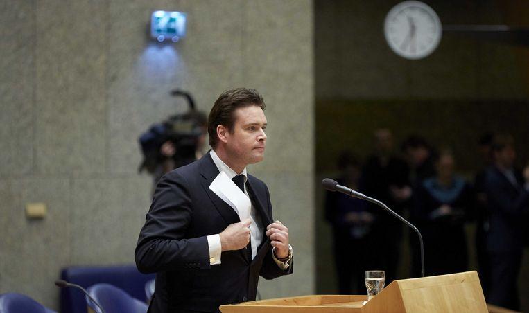 Frans Weekers tijdens het debat waarin hij bekendmaakte dat hij opstapt. Beeld ANP