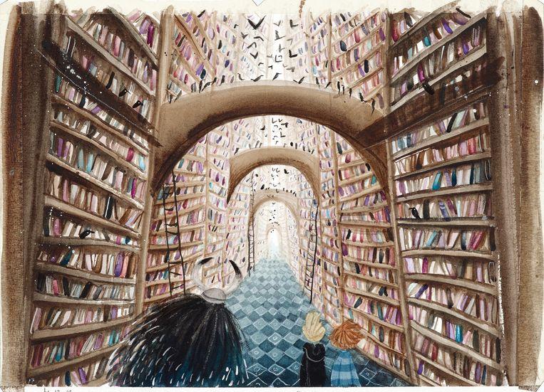 Een illustratie uit het met een Gouden Griffel bekroonde kinderboek 'Gozert' van Pieter Koolwijk, door Linde Faas Beeld Linde Faas