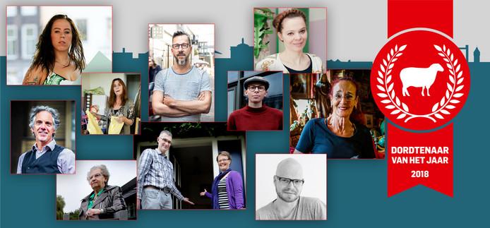 Deze tien mensen zijn genomineerd voor de Dordtenaar van het Jaar 2018.