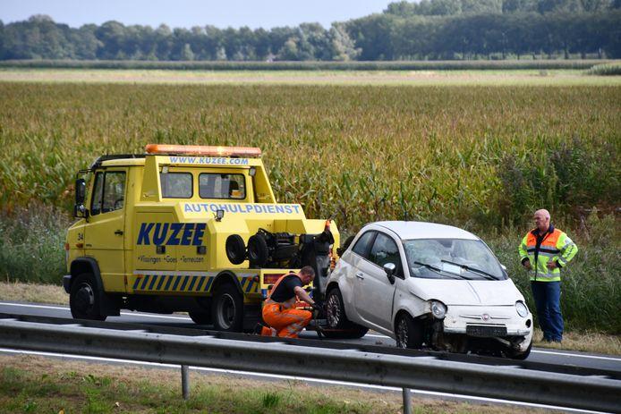 De auto moest worden getakeld.