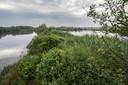 Het Haagse Beemdenbos is een combinatie van water, weide en bos. Links zijtak van de Mark waar een bever sporen heeft achtergelaten, rechts omsloten waterplas.