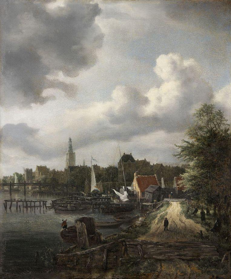 Jacob van Ruisdael (1628/29 - 1682), De Amstel bij Amsterdam, gezien naar het noorden, ca. 1655, olieverf op doek, 52.5 x 43.5 cm, Szépmüvészeti Múzeum, Boedapest. Beeld Amsterdam Museum