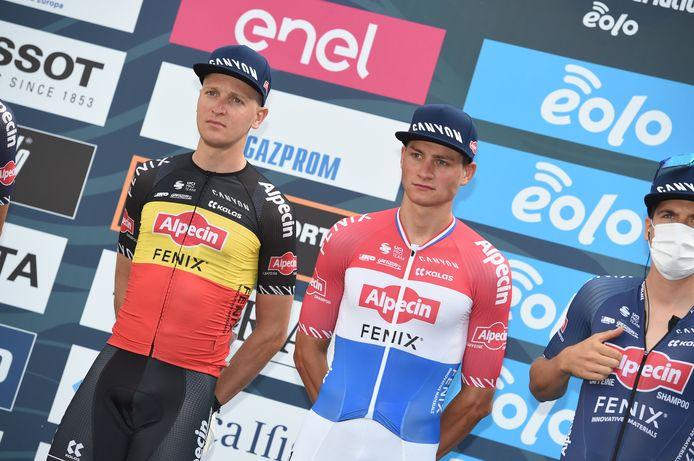 Belgisch kampioen Merlier (l) met Nederlands kampioen Van der Poel.