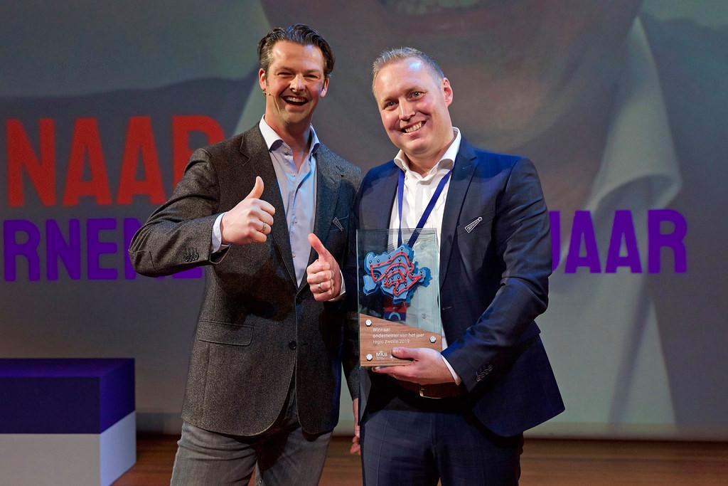 Links Johan van Marle, ondernemer van het jaar 2018, rechts Wycher Bakker, ondernemer van het jaar 2019.