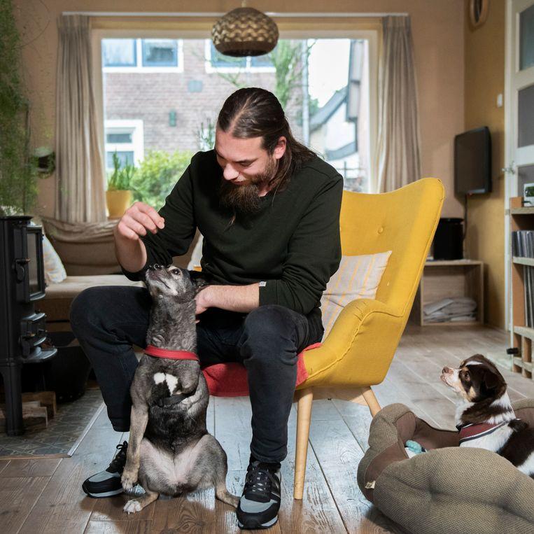 Rick Scholtes geeft zijn huisdieren (twee honden en twee katten) veganistisch voedsel. Beeld Bram Petraeus