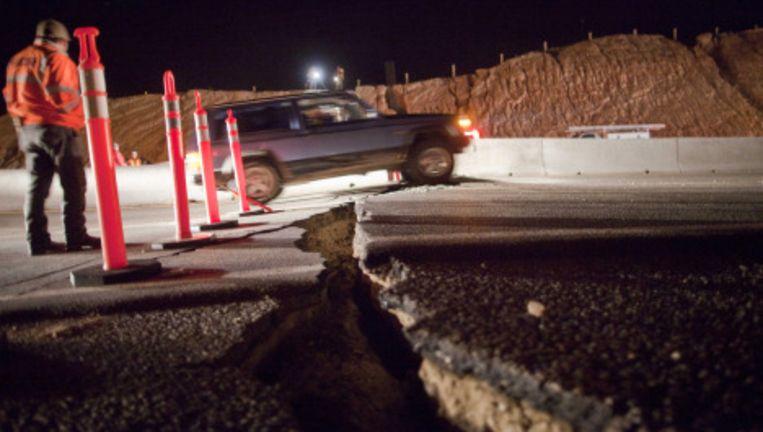 De Mexicaanse deelstaat Baja California is zondagmiddag plaatselijke tijd getroffen door een zware aardbeving van 7,2 op de schaal van Richter. Foto AP Beeld