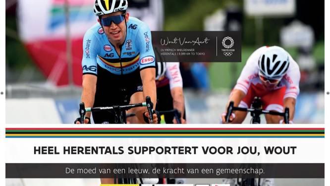 """Stad verdeelt affiches om Van Aert te steunen: """"Heel Herentals supportert voor jou, Wout!"""""""