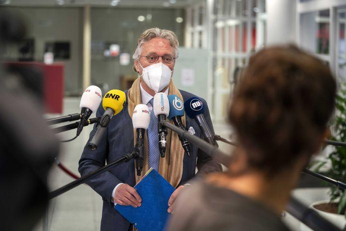 UTRECHT - Burgemeester John Jorritsma van Eindhoven eind januari bij het Veiligheidsberaad. De burgemeesters van de 25 veiligheidsregio's spraken daar over de handhaving van de coronabesluiten van het kabinet.