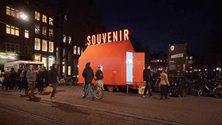 Het Souvenir Huisje op de Herengracht, deel van het Amsterdam Light Festival Beeld -