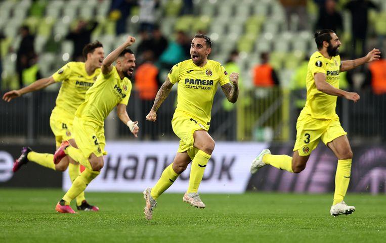 Villareal-spelers vieren de eindoverwinning in de Europa League. Beeld AP