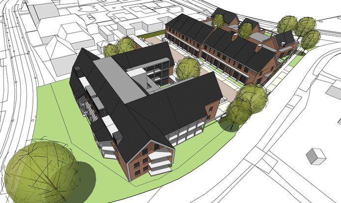 Een impressie van de plannen voor een appartementengebouw en woningen op het terrein van Derks in Overasselt.