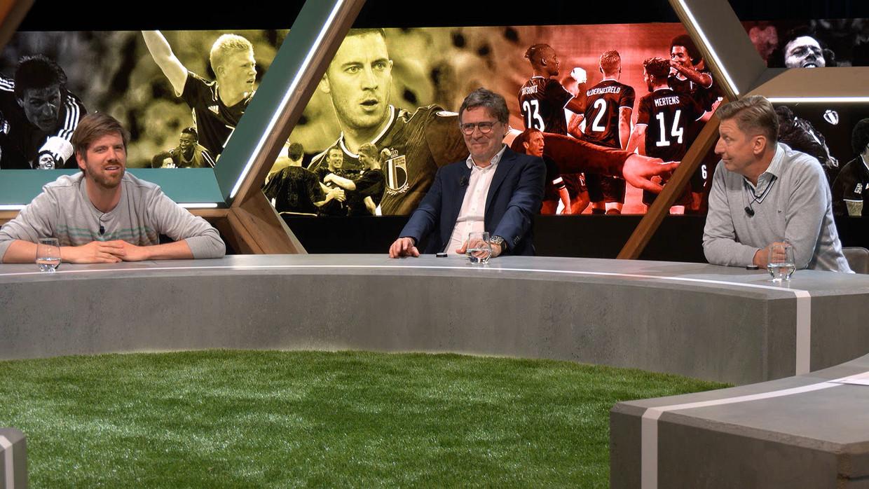 Bart Cannaerts, Erik Van Looy en Patrick Vervoort in 'Match van de waarheid'. Beeld Telenet