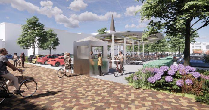 Het nieuwe Wetplein en de Lambertusbasiliek in Hengelo.