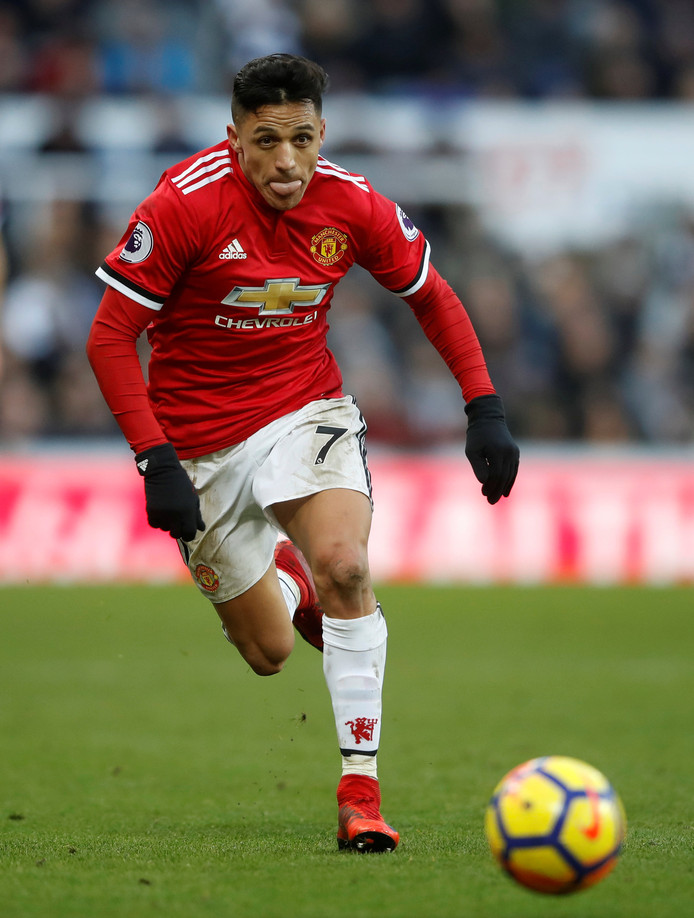 "Soccer Football - Premier League - Newcastle United vs Manchester United - St James' Park, Newcastle, Britain - February 11, 2018   Manchester United's Alexis Sanchez in action   Action Images via Reuters/Carl Recine    EDITORIAL USE ONLY. No use with unauthorized audio, video, data, fixture lists, club/league logos or ""live"" services. Online in-match use limited to 75 images, no video emulation. No use in betting, games or single club/league/player publications.  Please contact your account representative for further details."