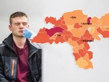 CORONAKAART   Virus hard op retour in regio, Neder Betuwe grootste zorgenkindje