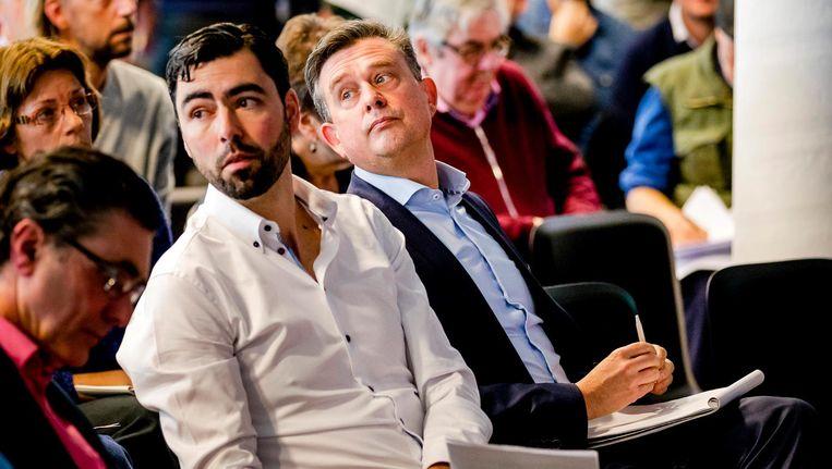 SP-partijvoorzitter Ron Meyer en lijsttrekker Emile Roemer bij de partijraad in Amersfoort, 25 maart 2017. Beeld anp