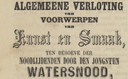 Advertentie voor de loterij van kunstvoorwerpen voor de getroffenen van de waterramp van 1861. In Oss verkocht de burgemeester loten voor één gulden.