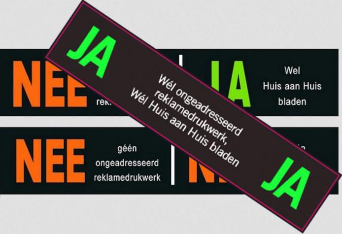 Alleen met de Ja-Ja sticker op de brievenbus krijg je in Rijssen-Holten nog (reclame)folders in de bus.