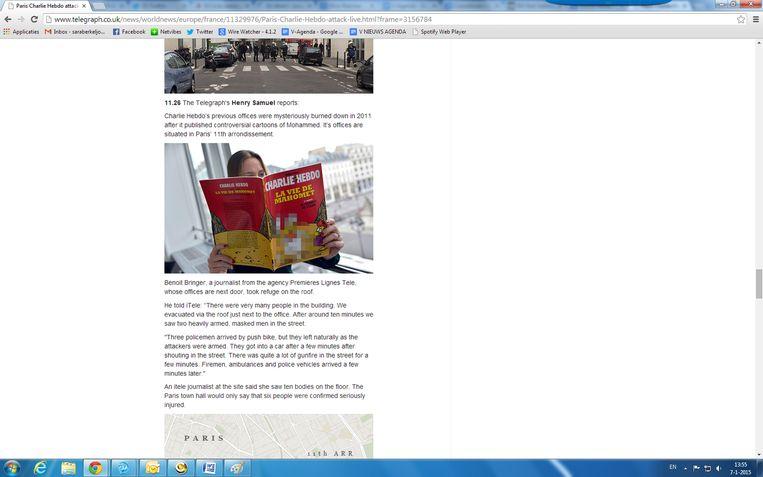 Een screenshot van de site van The Telegraph. Beeld .