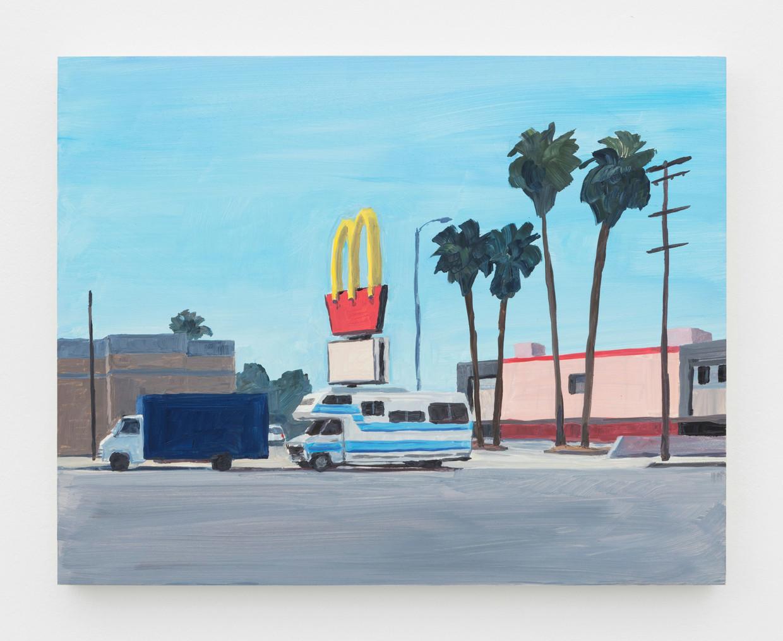 In Los Angeles Langage van Jean-Philippe Delhomme zijn vijftig olieverfschilderijen geëxposeerd van alledaagse beelden in de Amerikaanse stad.