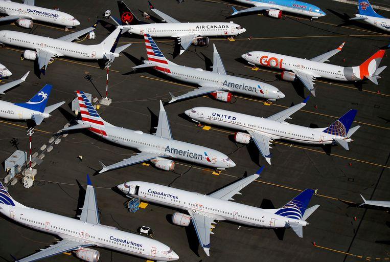 Tientallen Boeings 737 MAX toestellen staan aan de grond op Boeing Field in Seattle, in de Amerikaanse staat Washington. Beeld REUTERS