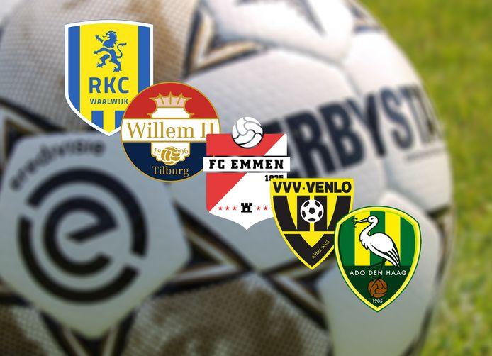 De logo's van RKC, Willem II, FC Emmen, VVV en ADO Den Haag.