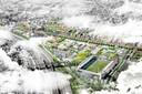 Het Herstacostadion met daarachter het Vlietpark en Stadsoevers.