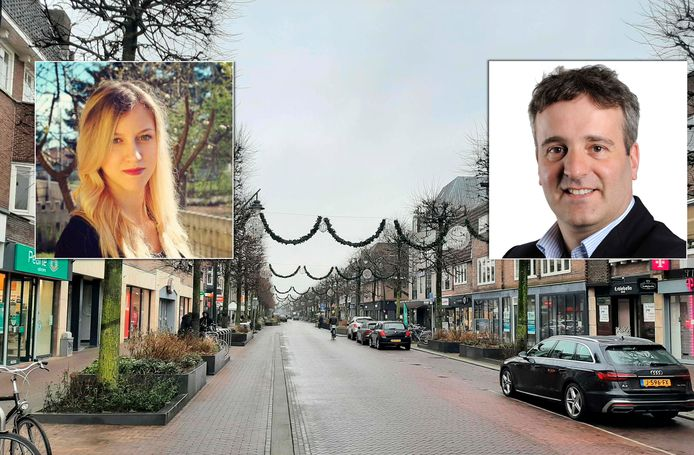 De Slotlaan in Zeist, met links de vermeende foto van Noortje van Breukelen en rechts Ronald Camstra