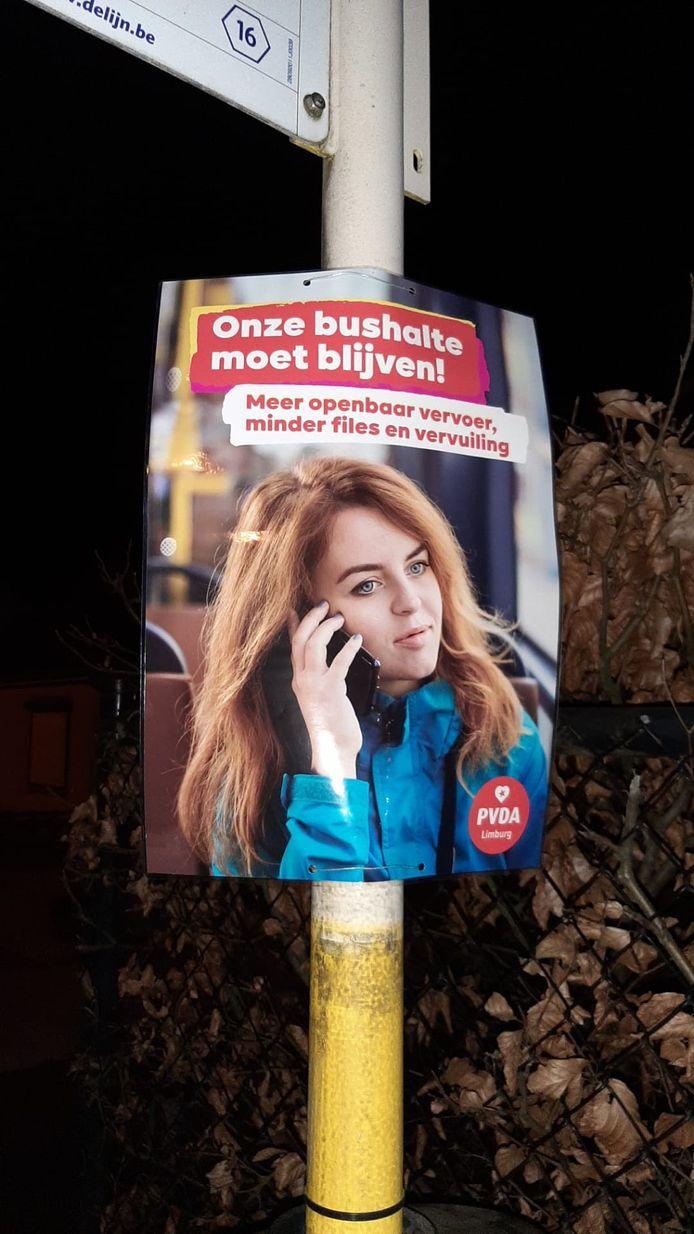 De affiches hangen op aan een vijftiental Genkse bushaltes die dreigen te verdwijnen.