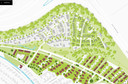 Kaartje van de nieuwe wijk Blixembosch Het Plateau in Eindhoven. De groene kromme is de nieuwe geluidswal tegen de A50/Kennedylaan aan. Links de Walwoningen, rechts het Plateau waar fase 1 nu in de verkoop is gegaan. Onderop het deelplan De Velden dat al klaar is.